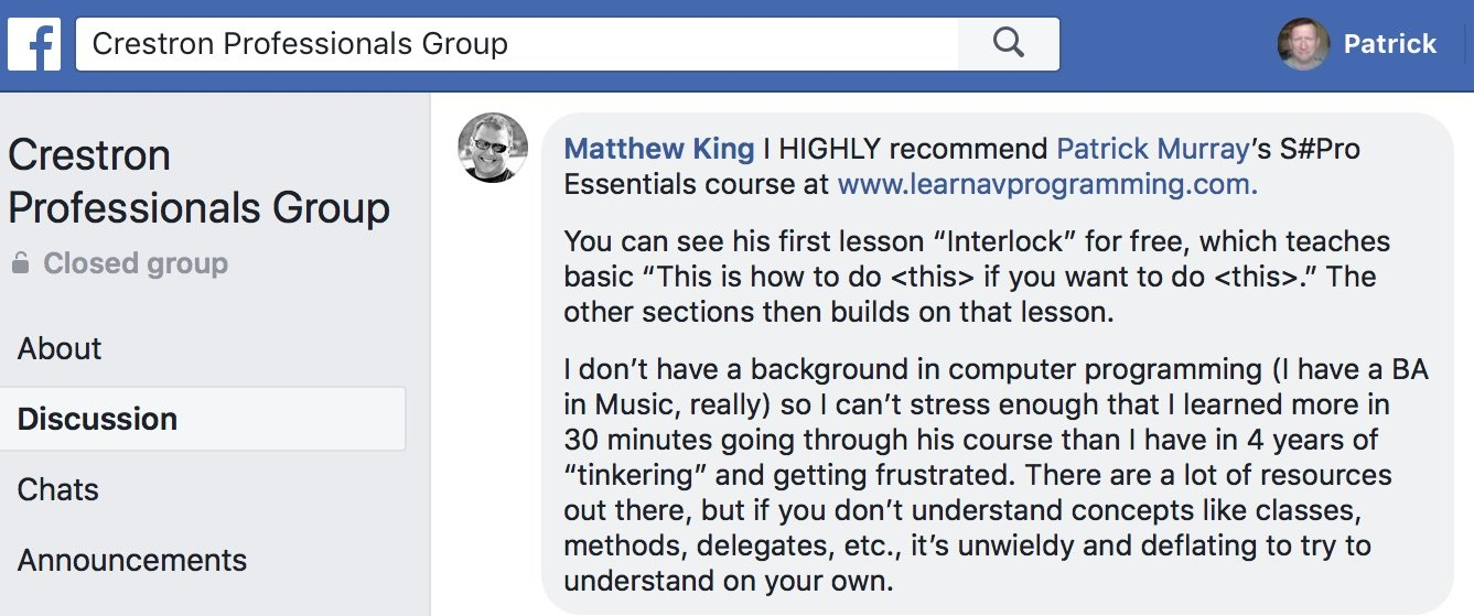 """I can't stress enough that I learned more in 30 minutes going through his course than I have in 4 years of ""tinkering"" and getting frustrated."" Matthew King"